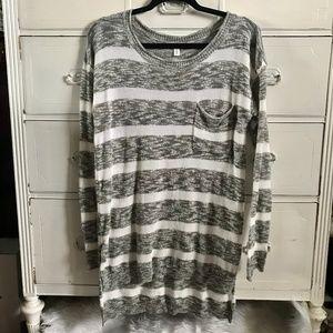 BP / Gray & White Stripe Sweater / SZ M